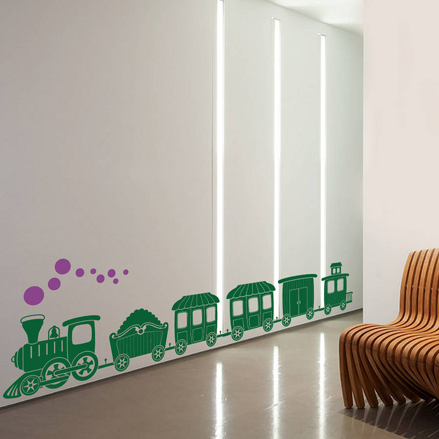 Train wall sticker by snuggledust studios notonthehighstreet kids wall sticker decorations amipublicfo Image collections