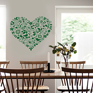 Heart Art Floral Design Wall Sticker - bedroom