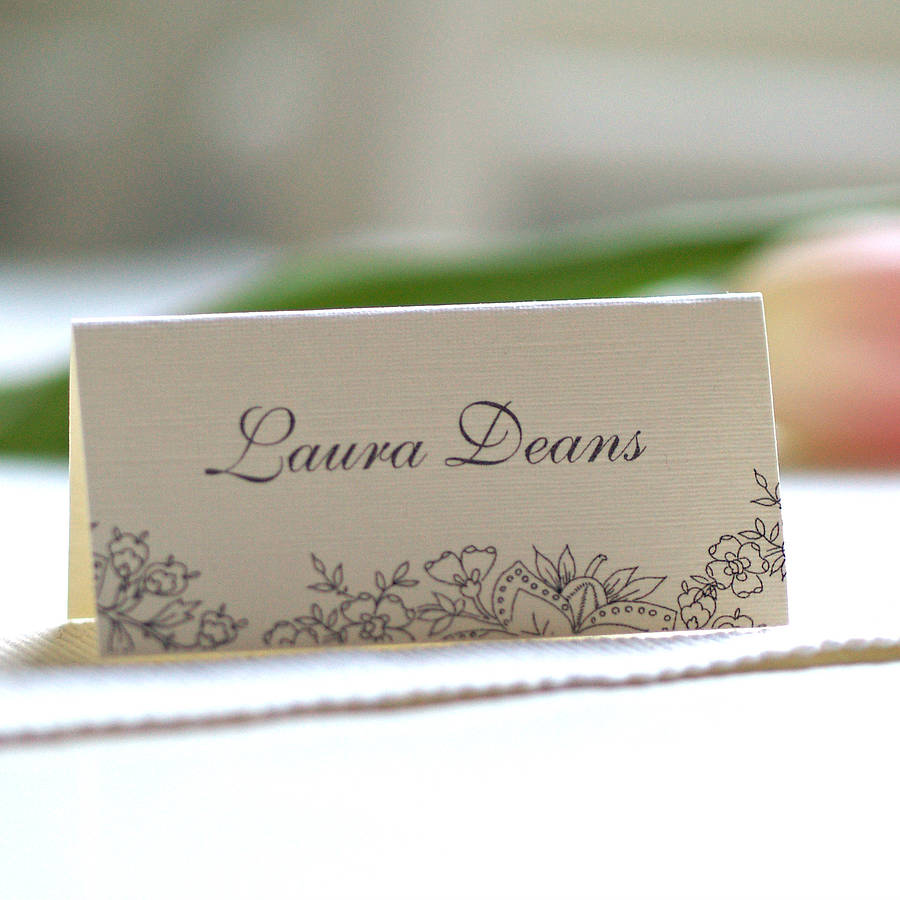 Personalised Lace Design Name Cards By Beautiful Day