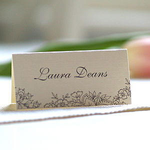 Personalised Lace Design Name Cards - wedding stationery