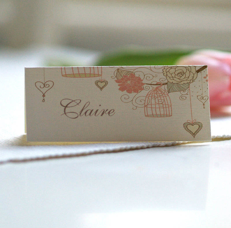 Personalised birdcage place name cards by beautiful day for Wedding place name cards