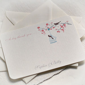 Love Birds Design Thank You Cards - wedding stationery