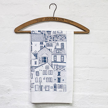 Coastal Cottages Tea Towel in navy