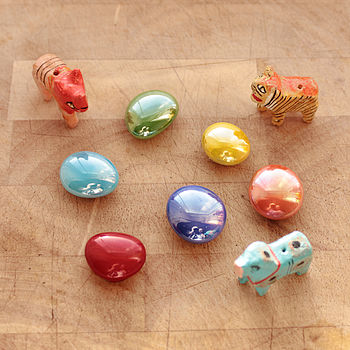 Set Of Colourful Glass Fridge Magnets