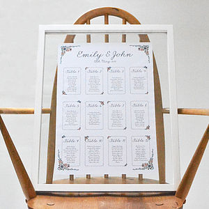 English Summer Garden Wedding Seating Plan - table plans