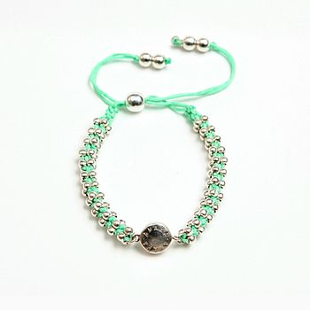 Friendship Bracelet With Solid Silver Balls And Clasp