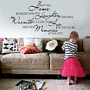 'May This Home Be Blessed' Wall Sticker