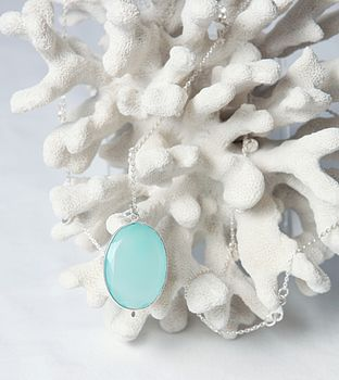 Silver Necklace With Aqua Chalcedony Pendant