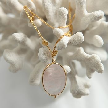 Gold Necklace With Rose Quartz Pendant