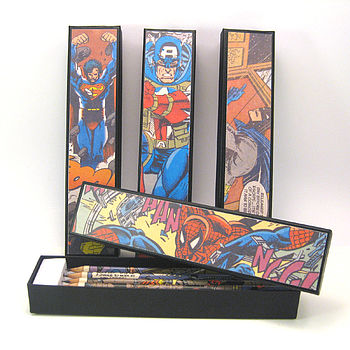 Set Of Five Superhero Pencils