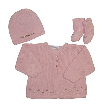 Cashmere Roses Cardigan, Hat And Booties Set
