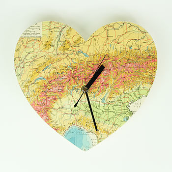 Personalised Map Location Heart Clock Weddings Gift