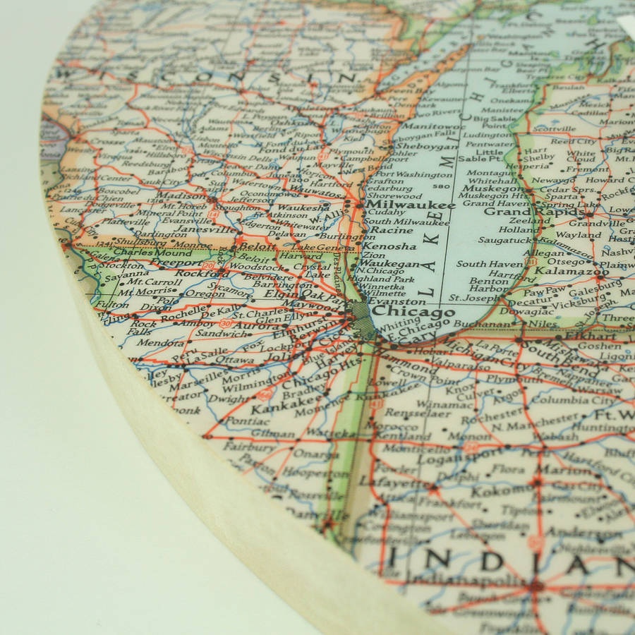 Bespoke Map Heart Trio Artwork By Bombus: Personalised Map Location Heart Clock Weddings Gift By