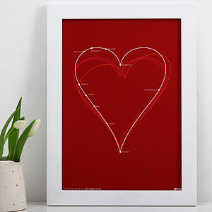 Personalised Life's Journey Heart Print - pictures, prints & paintings