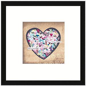 Personalised Love Birds Heart Print