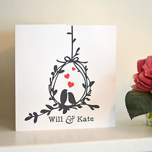 Love Birds Personalised Anniversary Card - cards & wrap