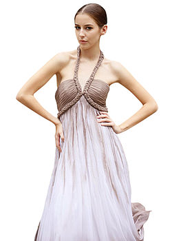 Roman V Neck Evening Dress Floor Length