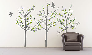 Grey Trees Wall Stickers - dining room