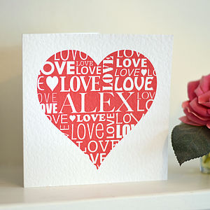 Personalised Love Heart Card - anniversary cards
