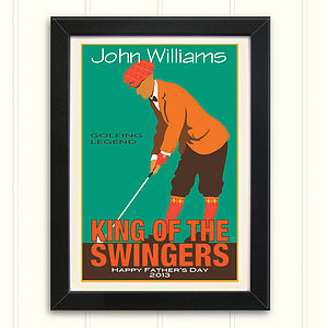 Personalised Men's Vintage Style Golf Print