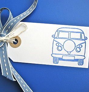 Set Of Five Campervan Gift Tags - birthday labels & tags