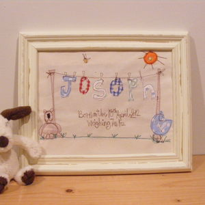 New Baby Personalised Embroidered Artwork - christening gifts