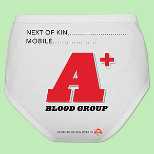 Funny Personalised Underwear Blood Group