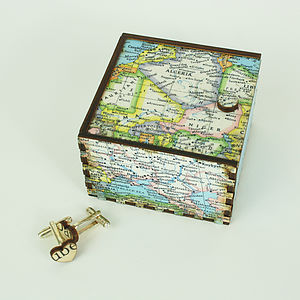 Map Cufflink Travel Box