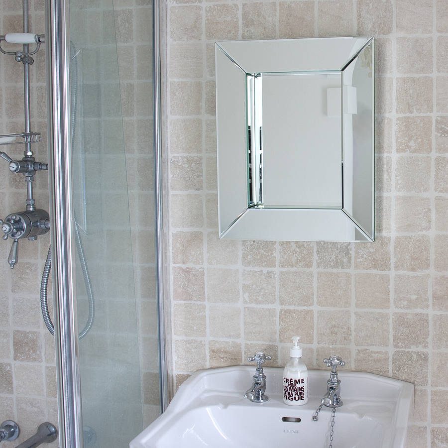 Deep all glass bathroom mirror by decorative mirrors for Bathroom wall mirrors