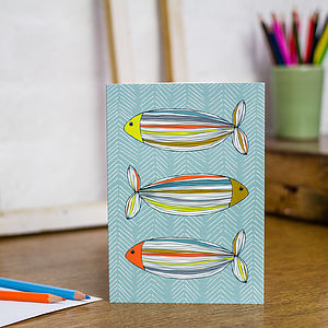 Fish In Colour Blank Greetings Card