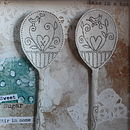 Framed Ceramic Spoons (Coloured background, plain spoon)
