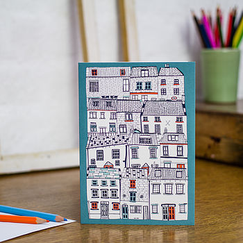 All Stacked Up card in teal
