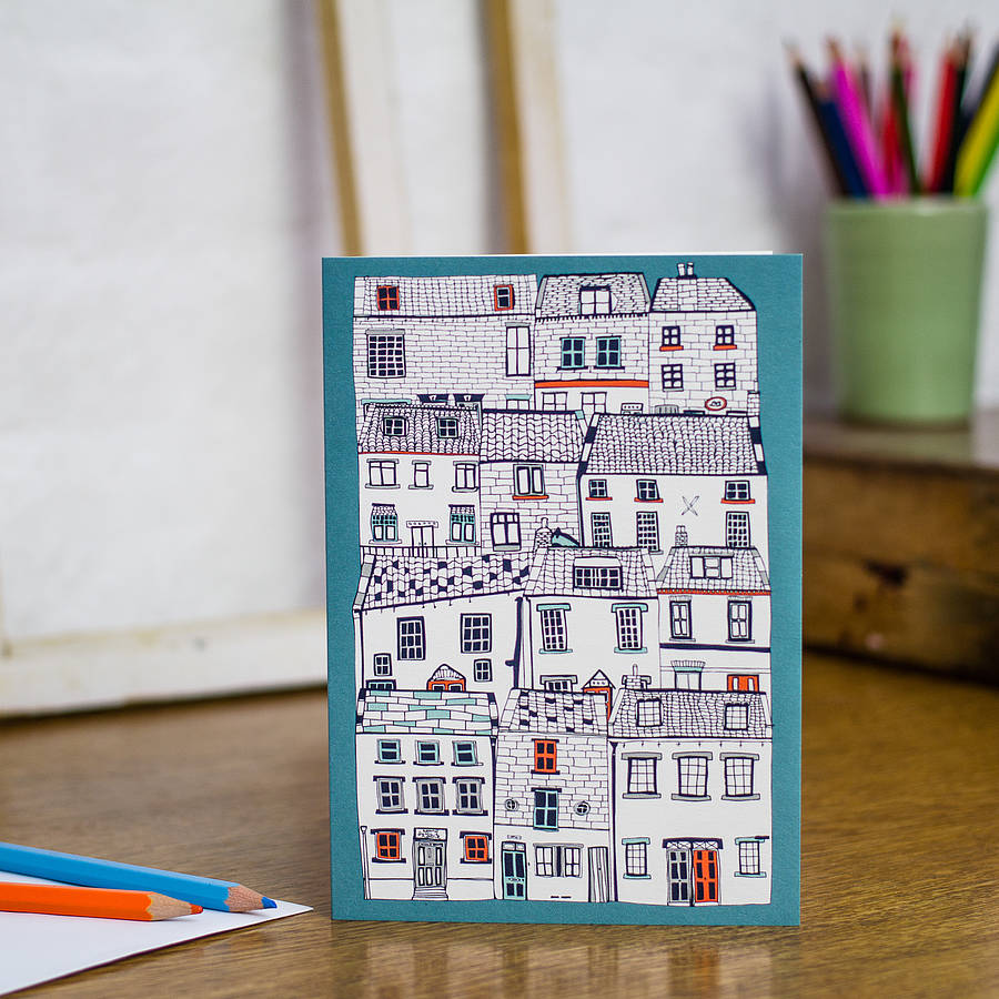 All Stacked Up Blank Greetings Card By Jessica Hogarth