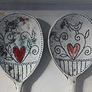 Teal underglaze, red hearts