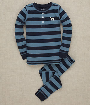 Blue Striped Labrador Pyjamas