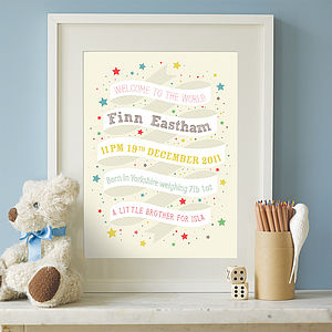 Personalised Ribbon Birth Print - gifts for babies & children