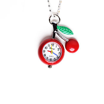 Cherry Pocket Watch Necklace