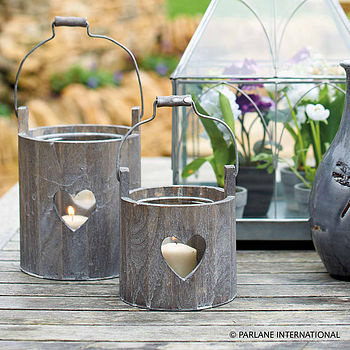 Wooden Heart Bucket Lantern