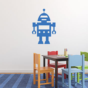 Robot Vinyl Wall Sticker - Azure Blue