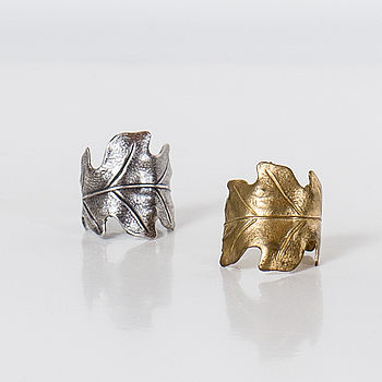Oak Leaf Ring In Polished Brass Or Silver