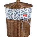 Boy's Fabric Trimmed Wicker Laundry Basket