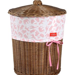 Girl's Fabric Trim Wicker Laundry Basket - storage