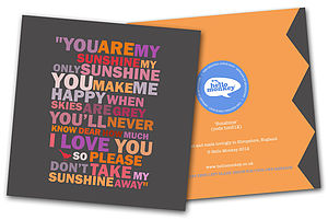 'You Are My Sunshine' Card - anniversary cards