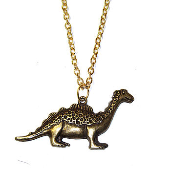 Bronze Tone Dinosaur Necklace