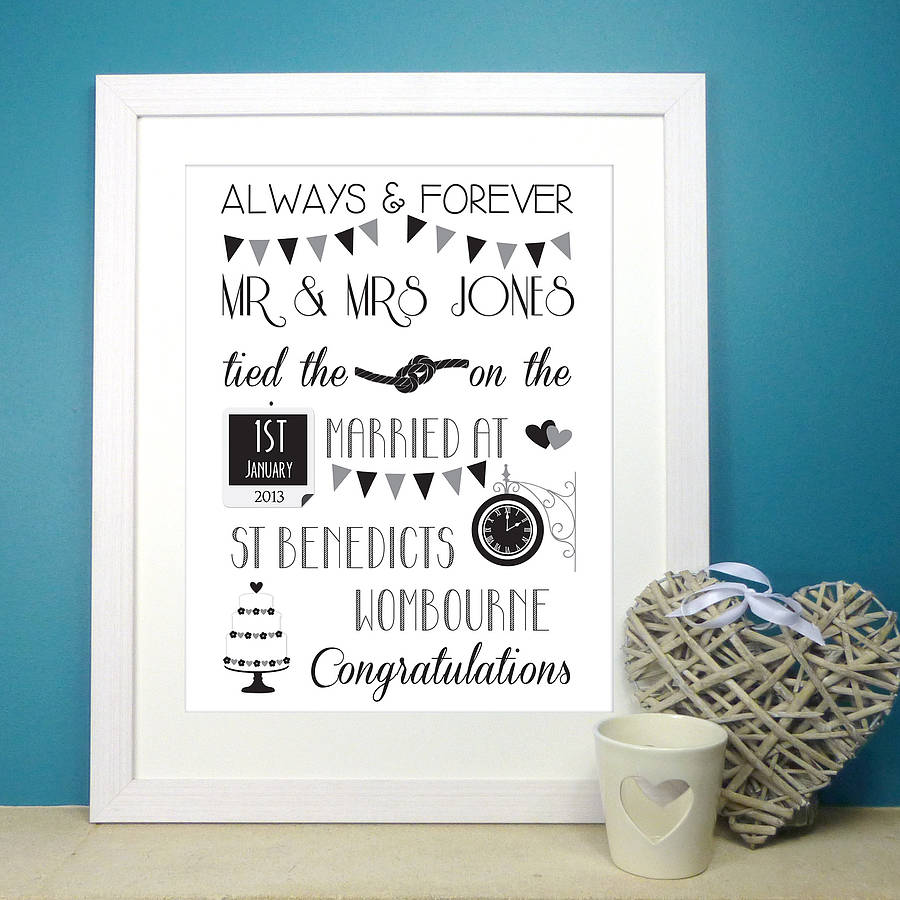 Personalised Wedding Print By The Little Paper Company