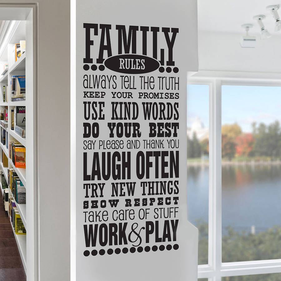 family rules wall sticker decal by snuggledust studios