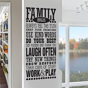 'Family Rules' Wall Sticker Decal - children's room