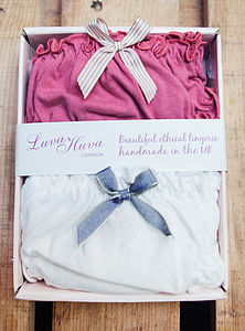 Coral And Snowdrop Organic Knicker Set - lingerie & nightwear
