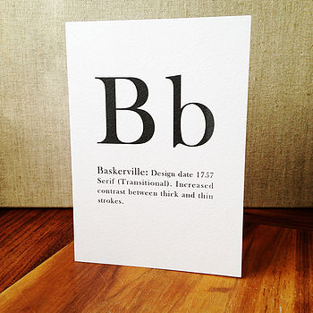 A To Z Typographic Font Greetings Card - Baskerville Font Option