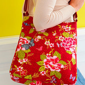 Floral Butterfly Canvas Messenger Bag - shoulder bags